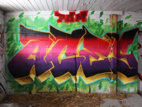 Aces graffiti piece found in a stable of the abandoned Montreal Hippodrome
