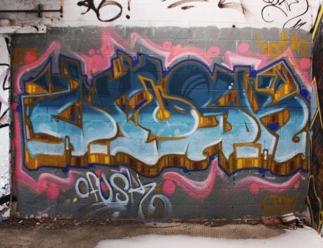 Fokus graffiti piece found in a stable of the abandoned Montreal Hippodrome