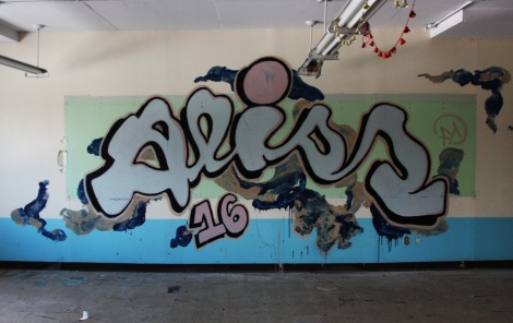 Aliss graffiti piece found in an abandoned school