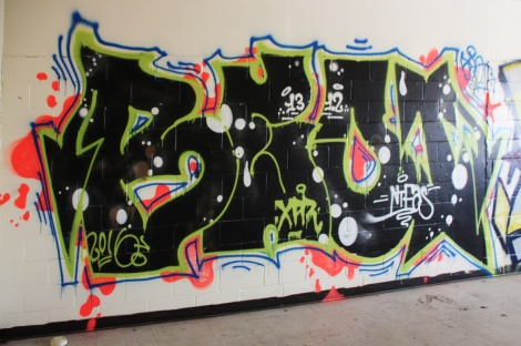 Beo graffiti piece found in an abandoned school