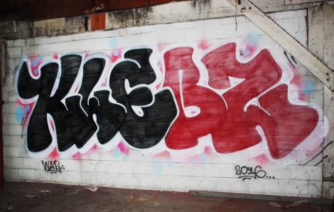 Blek graffiti piece found in the abandoned Transco