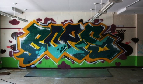 Boes graffiti piece found in an abandoned school