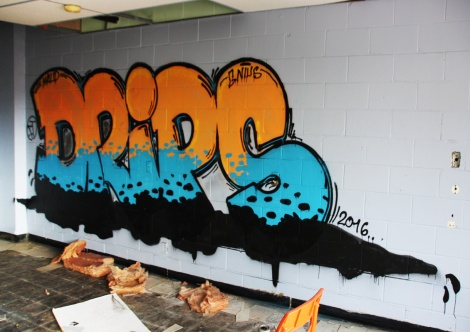 Drips graffiti piece found in an abandoned school