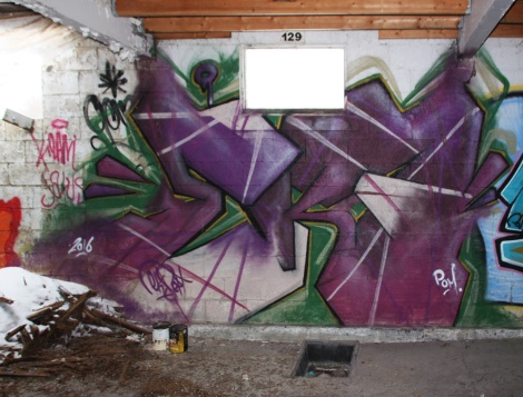 EK7 graffiti piece found in a stable of the abandoned Montreal Hippodrome