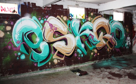 Eskro graffiti piece found in a stable of the abandoned Montreal Hippodrome