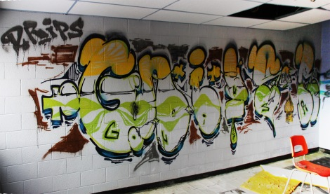 Gnius graffiti piece found in an abandoned school