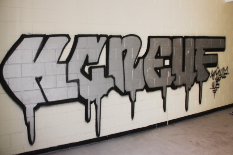 KC Neuf graffiti piece found in an abandoned school