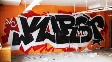 Kurst graffiti piece found in an abandoned school