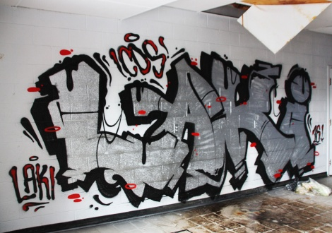 Laki graffiti piece found in an abandoned school