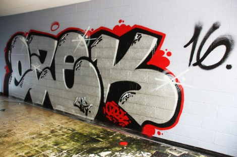 Ozek graffiti piece found in an abandoned school