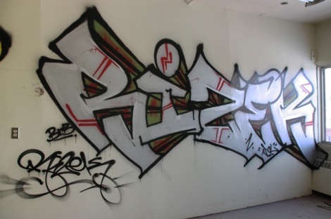 Rizek graffiti piece found in an abandoned school