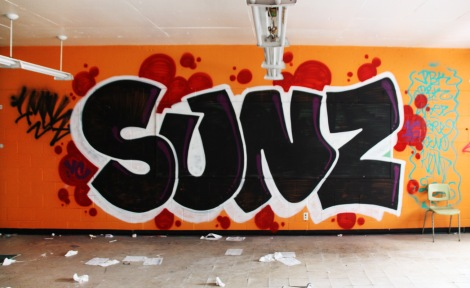 Sunz graffiti piece found in an abandoned school