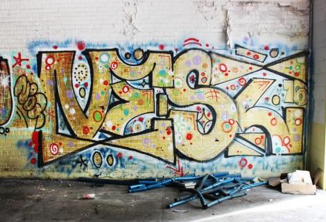 Vest graffiti piece found in the abandoned Transco