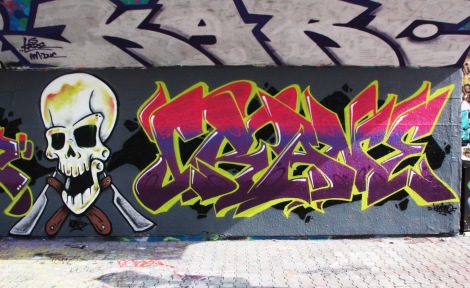 Nemo (skull) and Crane (letters) at the PSC legal graffiti wall