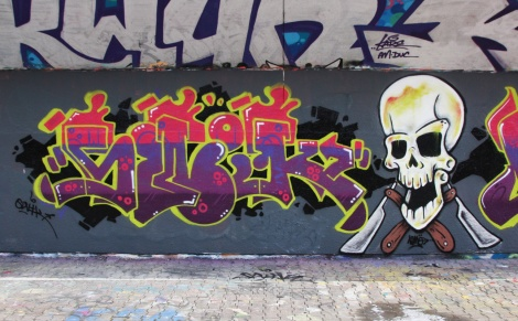 Swik (letters) and Nemo (skull) at the PSC legal graffiti wall