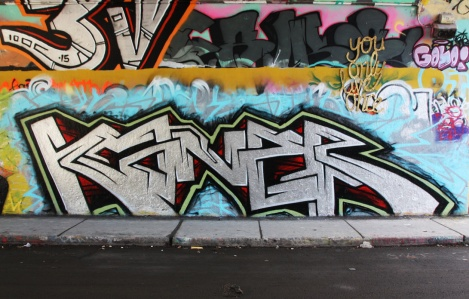 Kaner at the Rouen legal graffiti tunnel