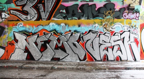 Nemo (bottom left) and Vesk (bottom right) at the Rouen legal graffiti tunnel