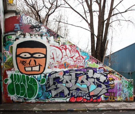 Gaulois (bottom right), Resno flop (bottom left) and Flavor (face) at the Rouen legal graffiti wall