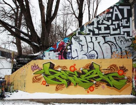 Skor (ground level) at the Rouen legal graffiti tunnel
