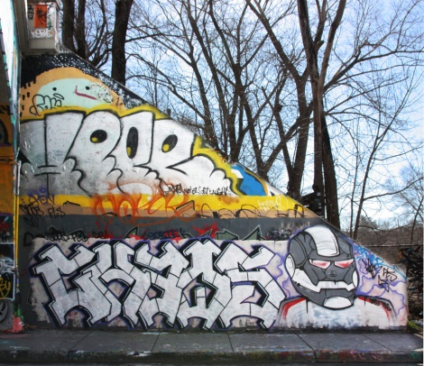 Caos (bottom letters), Past (bottom character), Hope (above) at the Rouen legal graffiti tunnel
