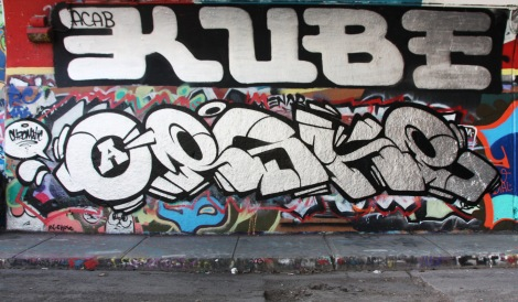 Eskro (ground) and Kube (above) at the Rouen legal graffiti tunnel
