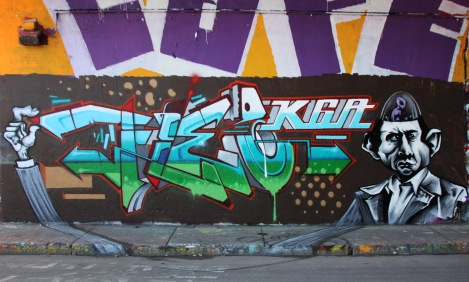 Fleo (letters) and Axe (character), both representing K6A at the Rouen legal graffiti tunnel