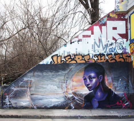 Monk.e and Small(?) (bottom), Hers (middle), Saner (top) and Jester (moon) at the Rouen legal graffiti tunnel