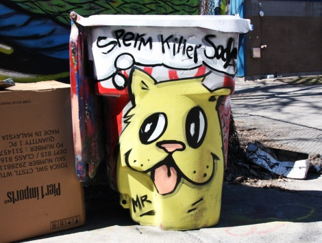 Mr Chose on a bin at the Rouen legal graffiti tunnel