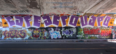 Cafe, Acro and Vapo on the top floor and Hers, unidentified, Vapo, Acro, Slake and unidentified on the ground level, at the Rouen legal graffiti tunnel.