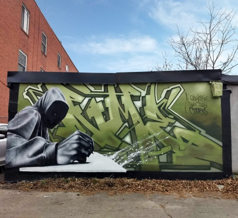 Stare on letters and Hest on character, together representing their crew NME in Hochelaga
