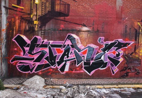 graffiti piece by Stare, a detail from a larger wall involving other artists