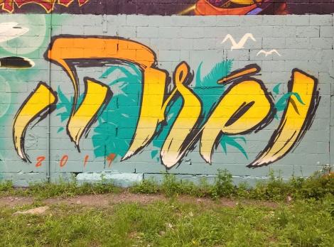 Dré aka Earth Crusher, on the Ashop wall