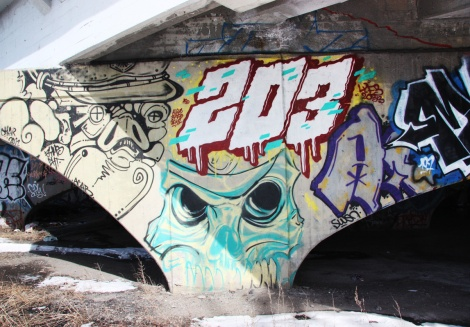 203 crew represented by Lyfer (top); other pieces by unidentified artists