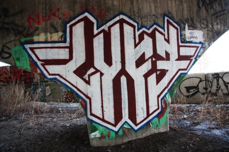 Lyfer piece underneath highway