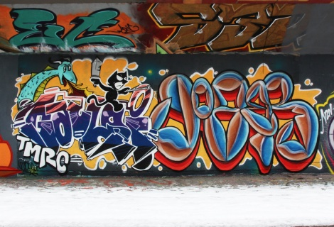 Gaulois (left) and Joze? (right) at the PSC legal graffiti wall