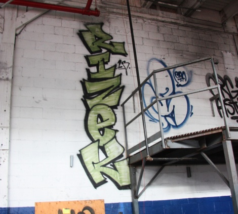 Rizek (green) and Snok (blue flop) in the abandoned Transco