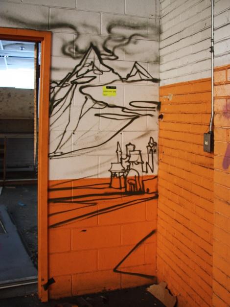 unidentified artist in the abandoned Transco's orange room