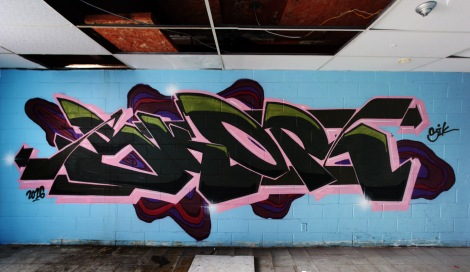 Skor graffiti piece found in an abandoned school