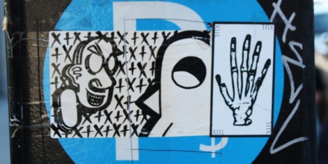 sticker collaboration with Cantstopink and ROC514 (left)
