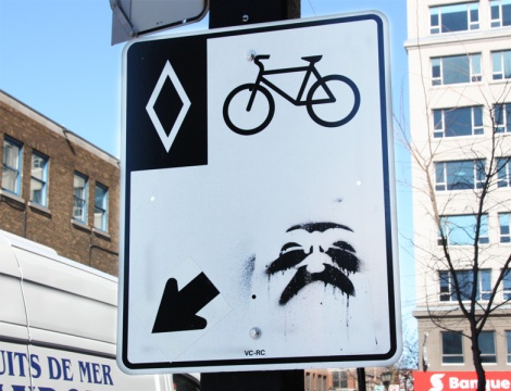 Jest stencil over traffic sign