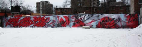 detail of a fence by Zek in the Quartier des Spectacles