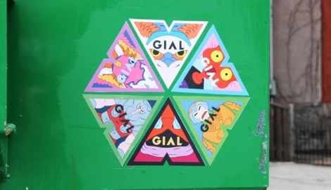 montage of Gial paste-ups found in Mile End