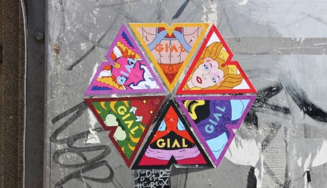 montage of Gial paste-ups
