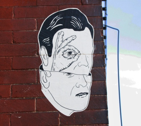 wheatpaste by unidentified artist found in the Plateau