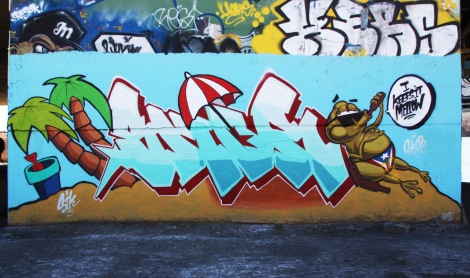 Skor piece at the Papineau legal graffiti wall