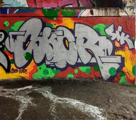 Skor at the Papineau legal graffiti wall