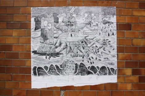Very large Chat Perdu wheatpaste in Mile End