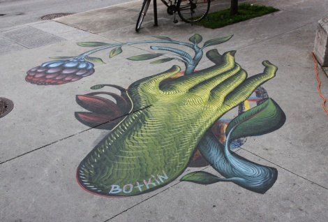 sidewalk piece by Jason Botkin ahead of the 2016 edition of Mural Festival