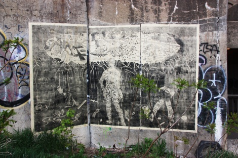 very large wheatpaste by Chat Perdu in Mile End