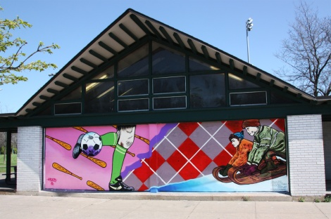 mural by HRKR on a youth centre in Rosemont